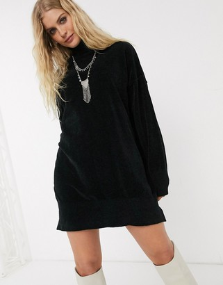 Topshop longline jumper in black