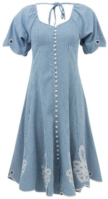 Innika Choo Madonna Phulman Striped Cotton Dress - Blue Stripe