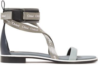 Chloé Grosgrain-paneled Neoprene-trimmed Logo-print Leather Sandals