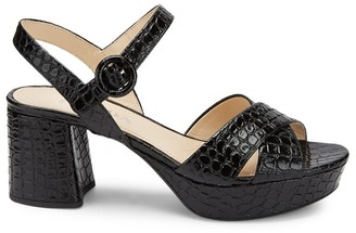 Prada Crisscross Croc-Embossed Leather Platform Sandals