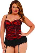 Seven Til Midnight SEVEN 'TIL MIDNIGHT Plus Size Full Figure Sexy Underwire Lace Overlay Bustier Lingerie