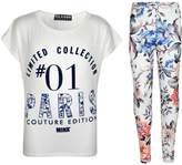 a2z4kids Kids Girls Top Paris Printed Trendy Top & Stylish Legging Set Age 7