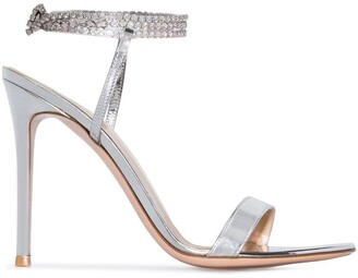 Gianvito Rossi silver Tennis 105 crystal metallic sandals