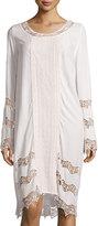 XCVI Mona Long-Sleeve Lace Panel Dress, Sugar