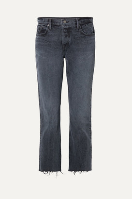 GRLFRND Tatum Cropped Frayed Mid-rise Straight-leg Jeans - Dark denim