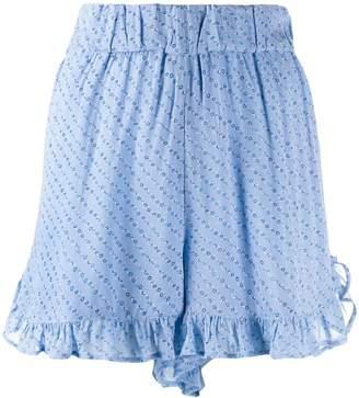 Ganni ruffled polka dot shorts