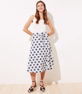 LOFT Petite Floral Linen Blend Tie Waist Midi Skirt