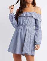 Charlotte Russe Striped Cold Shoulder Ruffle Shift Dress