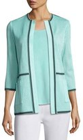 Misook 3/4-Sleeve Textured Jacket, Sea/Navy