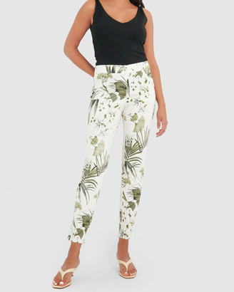 Forcast Women's White Dress Pants - Ria Floral Pants - Size One Size, 6 at The Iconic