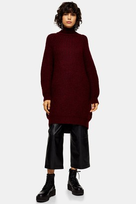Topshop Womens Burgundy Oversized Knitted Curved Hem Dress - Berry Red