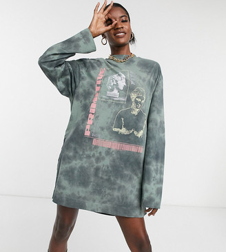 Collusion tie dye graphic print long sleeve t shirt dress