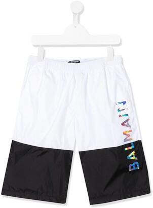 Balmain Kids TEEN colour-block logo swim shorts