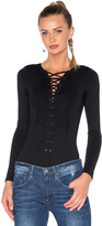 David Lerner Lace Up Bodysuit