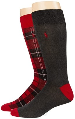 Polo Ralph Lauren Ramsey Tartan Slack 2-Pack (Red) Men's Crew Cut Socks Shoes