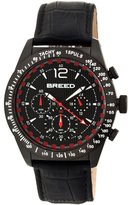 Breed Black Griffin Chronograph Leather Watch