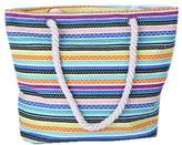 Skyseen Stripe Print Canvas Tote Bag Beach Bag Shopping Bag Shoulder Bag with Thick Rope Handle for Women and Girl