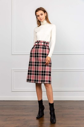 J.ING Franny Pink Plaid Midi Skirt