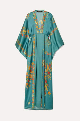Celia Dragouni - Printed Satin Maxi Dress - Light blue
