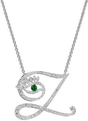 Tabayer Eye 18K White Gold, Emerald & Diamond Zen Pendant Necklace