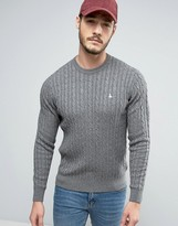 Jack Wills Marlow Cable Knit Sweater in Gray Marl