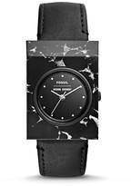 Fossil x Opening Ceremony Gemstone Three-Hand Black Leather Watch