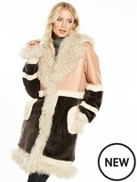Very Shearling Patchwork Coat