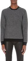 The Kooples Leather-trim wool jumper