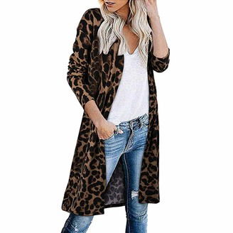 Chunmei Jacket Women Long Sleeve Fashion Elegant Ladies Sexy Leopard Print Coat Women Cardigan Long Colorblock Open Front Cardigan Shirt Comfortable Lightweight Transitional Coat L