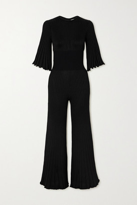 Bottega Veneta Ribbed-knit Jumpsuit - Black