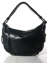 Kooba Black Leather Metal Detail Trim Small Hobo Handbag