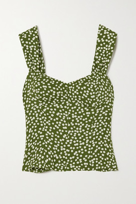 Reformation Strada Smocked Polka-dot Crepe Top - Green