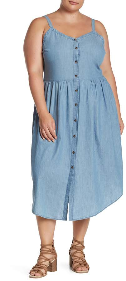 Chambray Midi Button Front Dress (Plus Size)