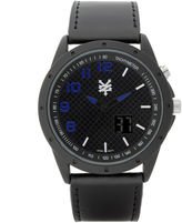 Zoo York Mens Black Leather Strap Watch