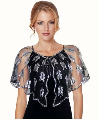 keland Women's sequins beaded evening dress scarf shawl shirt jacket jacket shirt wedding party blouse (Gold and Black)