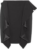 Givenchy Ruffled Silk Satin-paneled Grain De Poudre Wool Mini Skirt - Black