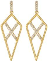 Freida Rothman 14K Gold Plated Sterling Silver CZ Pave Crisscross Dangle Earrings