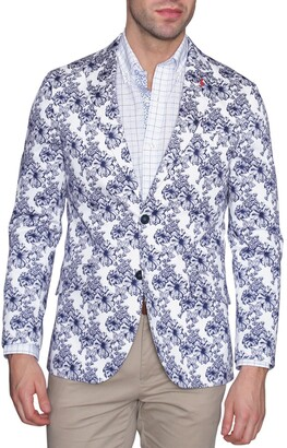 Tailorbyrd White & Navy Floral Two Button Notch Lapel Modern Fit Sport Coat