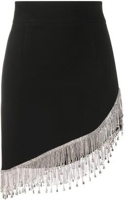 Philipp Plein Curve-Hem Crystal Fringe Skirt
