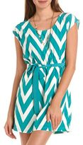 Charlotte Russe Belted Chevron Stripe Dress