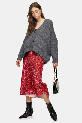 Topshop Red Animal Print Flounce Midi Skirt