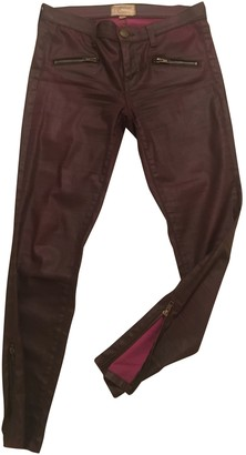 Current/Elliott Current Elliott Burgundy Leather Trousers