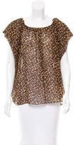 Saint Laurent Silk Leopard Print Top w/ Tags