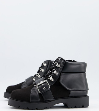 ASOS DESIGN Wide Fit Angelo lace up hiker boots in black