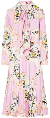 Tory Burch Floral Bow Silk Midi Dress