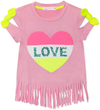Young Hearts Girls' Tee Shirts PINK - Pink 'Love' Heart Reversible-Sequin Fringe-Trim Top - Toddler & Girls