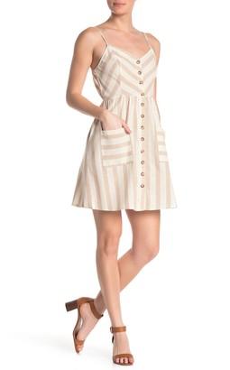 Blu Pepper Stripe Button Down Mini Dress
