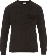 Kenzo Logo-appliqué ribbed-wool sweater