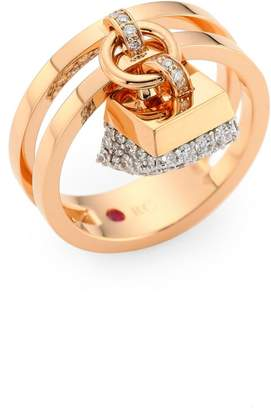 Roberto Coin Sauvage Prive 18K Rose Gold & Diamond Pave Charm Ring