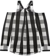 Rag & Bone Collingwood Cold-shoulder Gingham Cotton-blend Top - Black